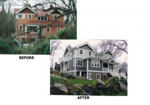 Before and after view of a home renovated by Meadowvale